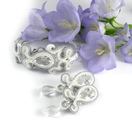 Komplet ślubny delikatny z kryształami