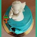 Morski tort komuijny z koronką i minimalistycznym aniołkiem #aniołek #czekolada #KolorMiętowy #KomuniaŚwięta #koronki #ombre #tort #TortKomunijny #TortKomunijnyDlaDziewczynki #TortyKrakó #TortyWalentynki