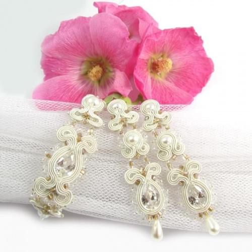 Biżuteria ślubna soutache ivory nude