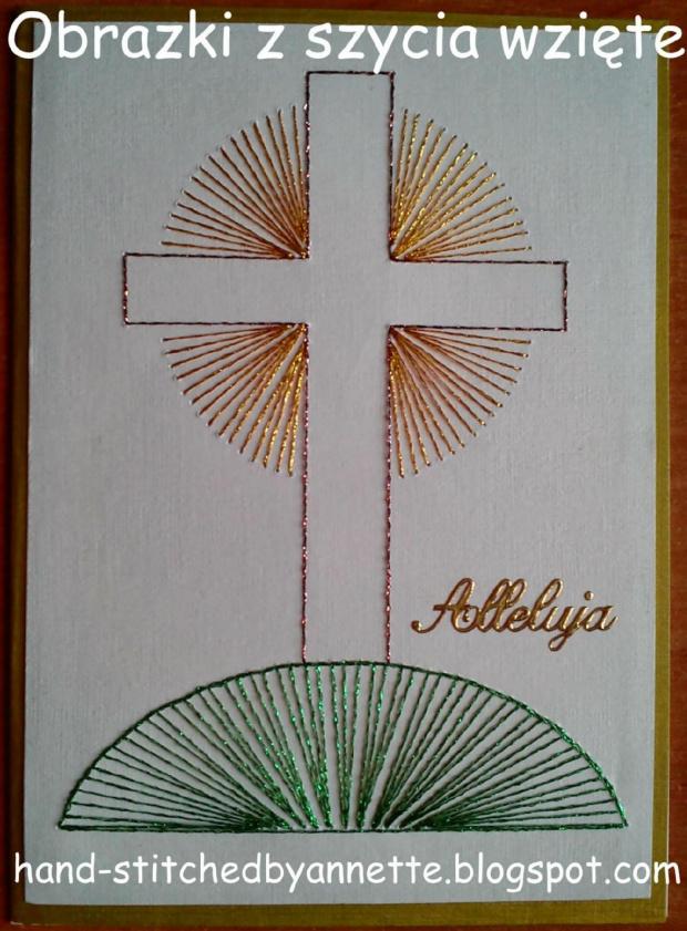 Obrazki z szycia wzięte - na podstawie wzoru ze stitchingcards.com #HaftMatematyczny #ObrazkiZSzyciaWzięte #wielkanoc #KartkiNaWielkanoc #krzyż